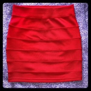 Bright Red Mid-Thigh Pencil Skirt